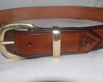 Leather belt, black, brass buckle,celtic