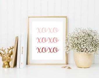 Valentines Day Art Print, XOXO Print, Valentines Day Printable, Love Printable, Wall Art, Instant Download 8x10