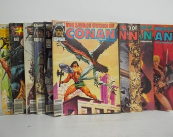 Lot of 10 Vintage Savage Sword of Conan Magazine Size Comic Books