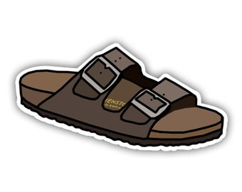 Birkenstock Sandal Shoe Minimalist Art Vinyl Decal Sticker