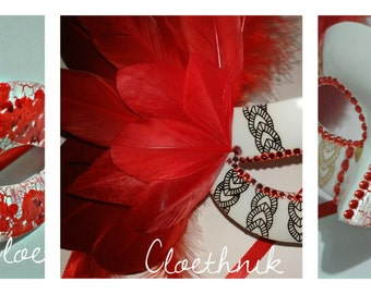 masks completely handmade in White&RED ©CloEthniK
