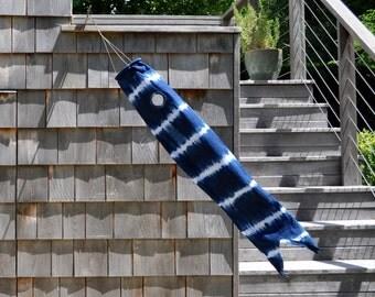 "Shibori Koinobori Windsock in Indigo Blue and White Stripes—36"""