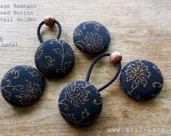Upcycled Vintage Covered Button Ponytail Holder, Indian Black Floral