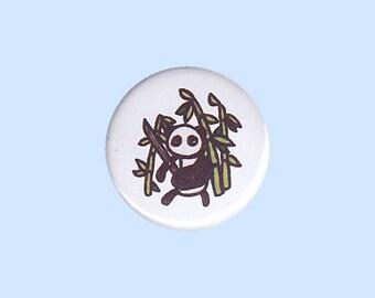 Panda Badge - cool panda pin, panda and bamboo pin, samurai pin, panda button, bamboo forest pin, panda warrior pin, panda samurai
