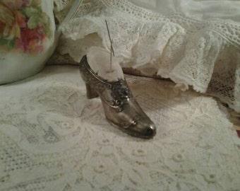 Shabby Vintage Pincushion Silverplate Shoe