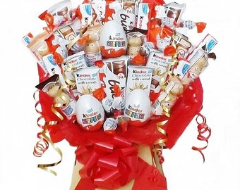 Kinder Chocolate Bouquet - Sweet Hamper - Christmas, Birthdays, Weddings, Special Occasions, Anniversary, Graduation, Farewell, get well
