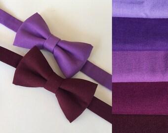 Purple bow tie. Lilac bow tie. Wine bow tie