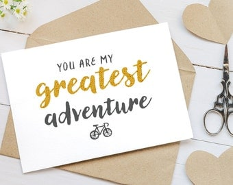 You Are My Greatest Adventure Card - Blank Cards for Couples - Love You Cards - Valentine's Day Cards - Greeting Cards
