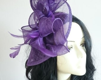 Purple  Sinamay Teardrop Fascinator With Feathers Weddings-Ascot-Races-Ladies Day