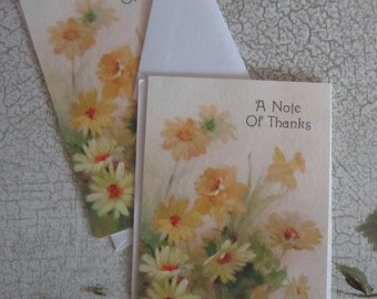 Two (unused) Cheerful Vintage Greeting cards from Hallmark Ambassador Cards, A Note Of Thanks, floral motif.