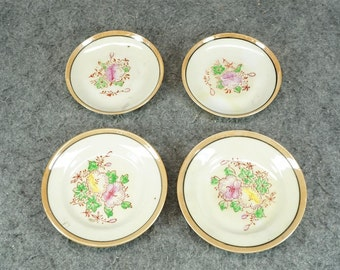 Vintage Porcelain Small Plates x 4 Hand-Painted