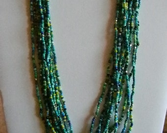 Beaded Multi Color Blue Green Yellow Multi Strand Necklace