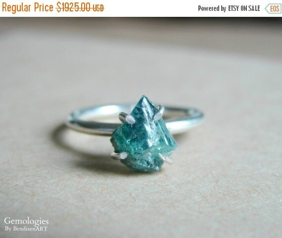 Raw Diamond Ring Blue Diamond Engagement Ring Valentines Day