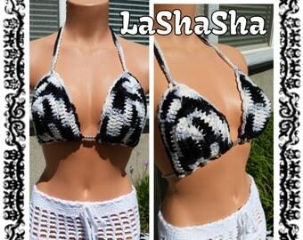 Black / White / Grey / Bikini / Top / Glow In The Dark / Beads / Rock That LaShaSha