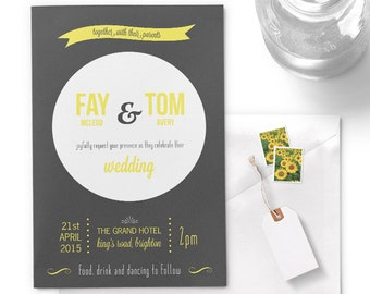 Grey & yellow wedding invitations / typographic / printed