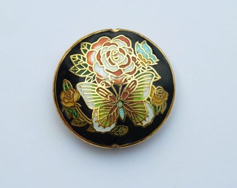 Large Vintage Cloisonne Round Metal Pendant, Butterfly and Roses Chinese Cloisonne Focal Bead, 45mm