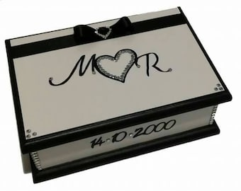 Wedding Wishes Keepsake Box Black and White