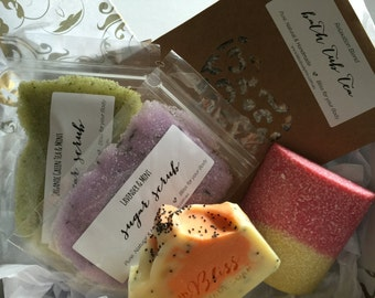 Handmade Soap, Body Scrub & Tub Tea Bath Soak Gift Box