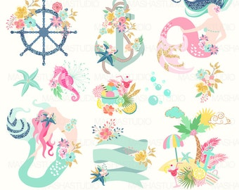 "Summer clipart: ""MERMAID CLIPART"" with mermaids, navy clipart, nautical clipart, anchor clipart, island, 13 images, 300 dpi. PNG files"