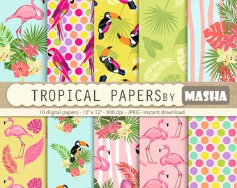"Flamingo papers: ""TROPICAL DIGITAL PAPERS"" with flamingo patterns, exotic digital paper, toucan pattern, parrot print, tropical patterns"