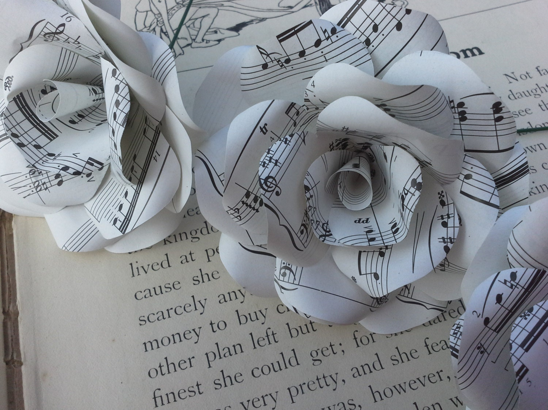6 x sheet music paper roses paper flowers roses for Paper roses sheet music free