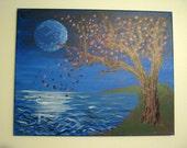 Lanscape Painting, Landscape Art, Water Painting, Ocean Art, Fantasy Art, Fantasy Painting, moonlight art, night painting, Nature Art