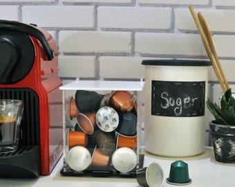 White Nespresso Coffee Capsule Holder Box, Clear Coffee Pod Box, Kitchen Organizer, Decor Gift, CounterTop Storage, Coffee Kitchen Accessory
