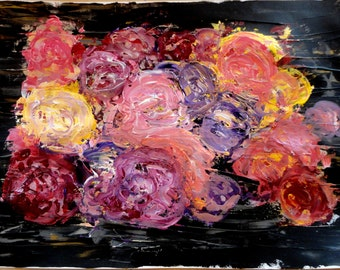 Acrylic abstract painting large roses