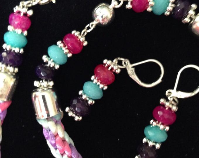 Pastel satin Kumihimo and agate jewellery set, pink Kumihimo necklace,colourful Kumihimo bracelet, agate earrings, Kumihimo agate jewellery