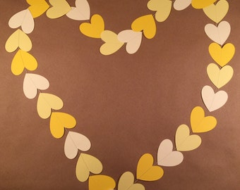 Heart garland, Valentine's Day garland, wedding garland, paper heart garland, yellow heart garland