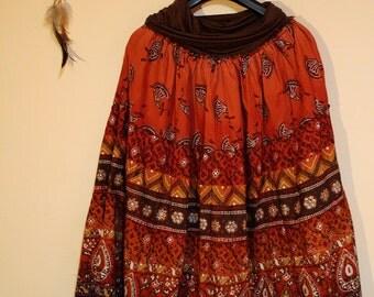 Vintage 60s hippie boho bohemian gypsy maxi skirt