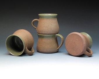 David Leach Lowerdown Pottery Mugs, Stoneware Mugs with Celadon Glaze, Collectible Pottery Mugs, Studio Pottery Mugs