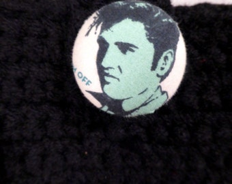 Elvis purse crocheted black King of Rock and Roll Retro Rockabilly