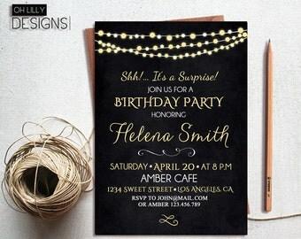 Birthday Invitation Printable, Surprise Birthday Invitation, Adult Birthday Invitation, Chalkboard Birthday Invite, Birthday Party