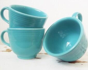 Set of Three Turquoise Aqua Teal Fiestaware Mugs