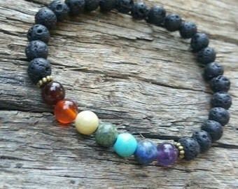 Seven Chakras, balancing bracelet, chakra bracelet, wrist mala, Reiki charged, gemstone bracelet, yoga bracelet, Mala, tribal bracelet, Boho