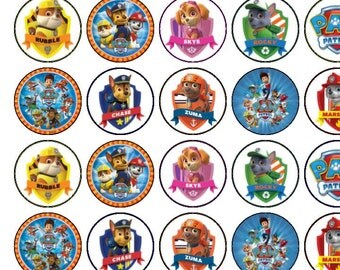 30 Assorted Paw Patrol Premium Rice Paper Cup Cake Toppers