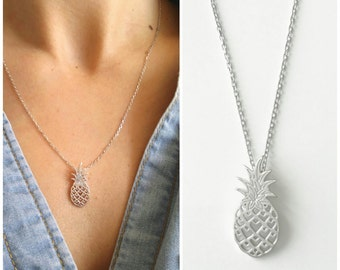 Necklace silver pineapple 925/000 - Jewelry Silver pineapple, pineapple - pineapple necklace, 925 silver sterling