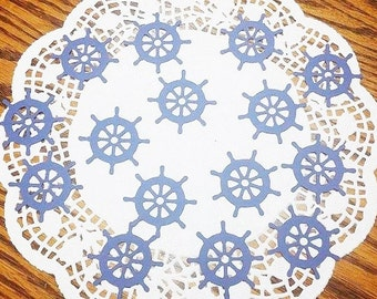 "Nautical Ship Wheel Die Cuts Embellishments: Navy Blue Cardstock (1.8"" x 1.8"")"
