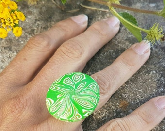 Statement ring, colourful fimo bijoux