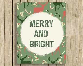 christmas wall art retro merry and bright quote instant download digital print red green modern contemporary - Retro Home Decor
