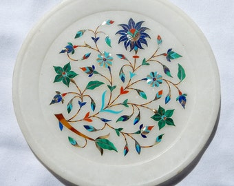 Small Marble Plate with Inlaid Semi Precious Stones - Pietra Dura - from India