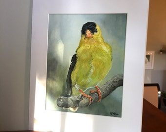 11x14 American Goldfinch Wall Art with White Mat - Ready to Frame Bird Print from Original Acrylic Painting