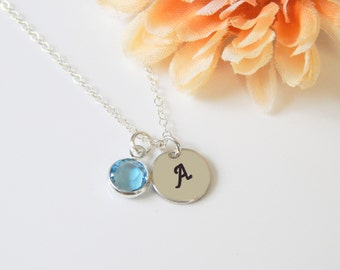 Personalized Initial Necklace, Silver Initial Disc and Birthstone, Girlfriend Gift, Minimal Necklace, Bridesmaids Gift [CUD9] [N-202]