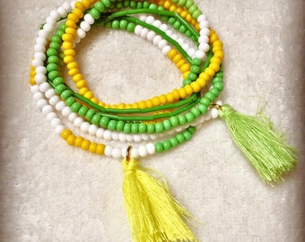 Lot of 6 bracelets, multi-colored beads with PomPoms yellow and green