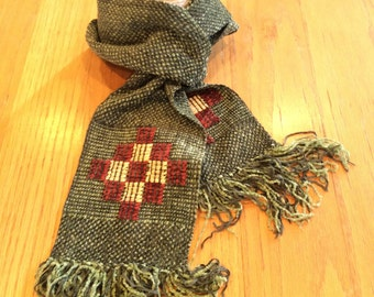 Handwoven dark  sage green chenille scarf with geometric design