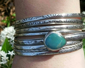 Turquoise Serling Silver Bangle