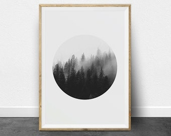 Black and White Prints, Black and White Photography, Printable Art Set, Ombre Effect, Circle Print, Minimalist Art, Forest Print, Trees
