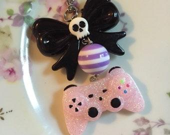 Play Station controller Necklace kawaii video game geek nerd goth skull