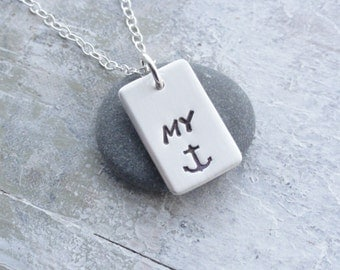 Personalised Sterling Silver Tag Necklace ~ My ANCHOR ~ My SUNSHINE ~ My LOVE ~ My Monkey